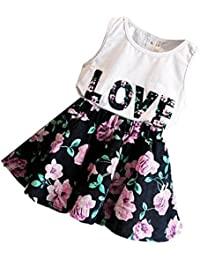 Phenovo 2pcs Kids Baby Girls Outfits T Shirt Tops Floral Skirt Dress Clothes Set 120