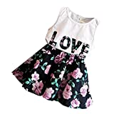 #3: Phenovo 2pcs Kids Baby Girls Outfits T Shirt Tops Floral Skirt Dress Clothes Set 120