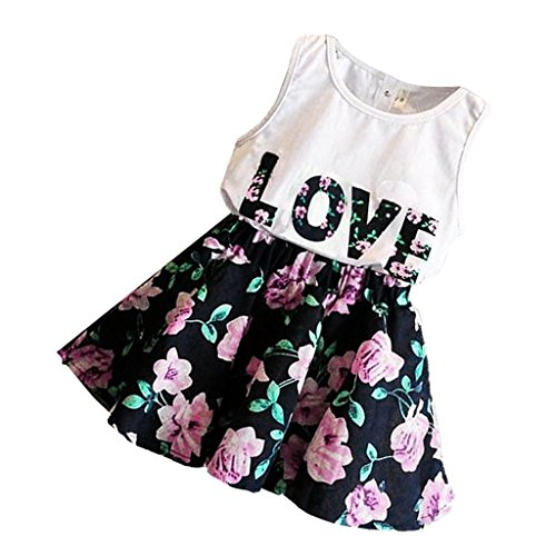 Phenovo 2pcs Kids Baby Girls Outfits T Shirt Tops Floral...
