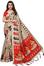 Anni Designer Indian Women's Kalamkari Silk Saree with Blouse P