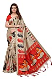 Anni Designer Indian Women's Kalamkari Silk Festive Wear Saree with Blouse Piece (Beige & Red)