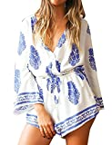 Tkria Women's Boho Style Deep V-Neck Beach Casual Short Summer Jumpsuit Rompers UK Size S-XL