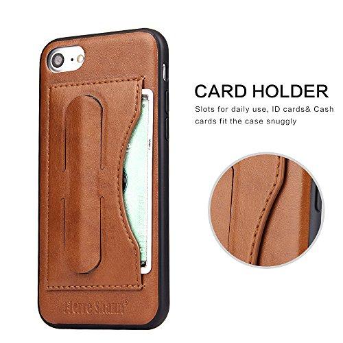 IPhone 7 Protective Case , IPhone 7 Ledertasche Card Slot Vintage Series PU Leder weicher Standplatz Fall [1 Card Slots], Ultra Slim Back Cover für IPhone 7 (2017) schwarz braun
