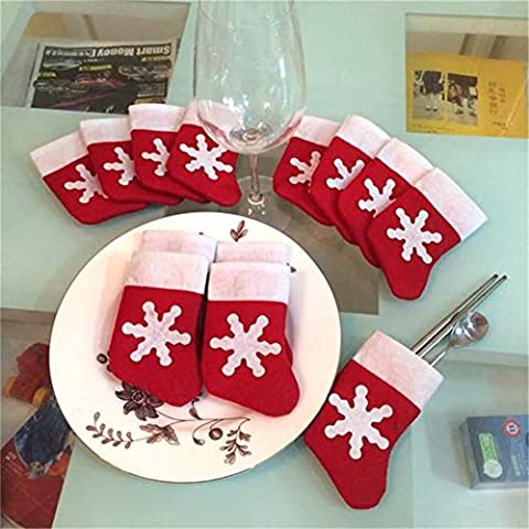 HENGSONG 12 Stück Weihnachtsdeko Weihnachten Bestecktasche Besteckhalter Weihnachtsbaumschmuck Tischdekoration Weihnachtsstrümpfe