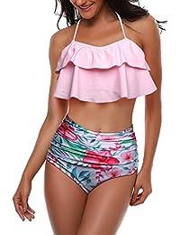 4986bd9b3b3 AMAGGIGO Swimsuit for Women High Waisted Halter Vintage Push up Bikini Set  Ladies Plus Size 2-Pieces…