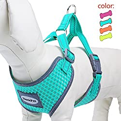 ThinkPet Reflective Breathable Soft Air Mesh Puppy Dog Vest Harness Neon Green S(Neck 32-39cm/Chest 32-45cm)