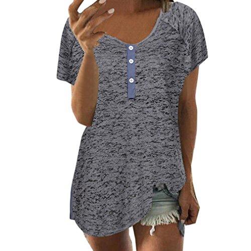 1de7f09e84fe Hevoiok Damen Kurzarm-Shirt Oberteile Sexy Knopf Bluse Neu Frühling Sommer  T Shirt Frauen Casual Locker Tanktops (Dunkelgrau, 4XL)