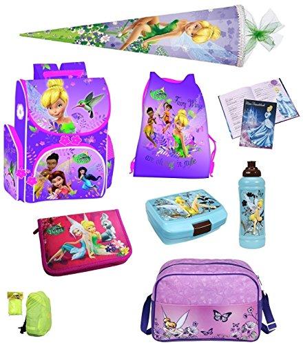 Disney Fairies Tinkerbell Schulranzen Set 9tlg. Sporttasche, Federmappe und Schultüte 85cm PL