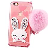 iPhone 4 Case, iPhone 4S Case,Sunroyal Soft Skin TPU Silicone Gel 3D Lovely Rabbit Protective Phone Shell Stand Case Cover with Soft Pom Pom Ball for iPhone 4 4S - Pink