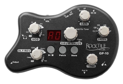 Rocktile GP-10 Gitarren Multieffekt Gerät/Kopfhörer-Verstärker Amp (8-Effekttypen und Drum-Loop Player mit 40 Rhythmen, Gürtelclip, Stromversorgung per Netzteil / Batterien)