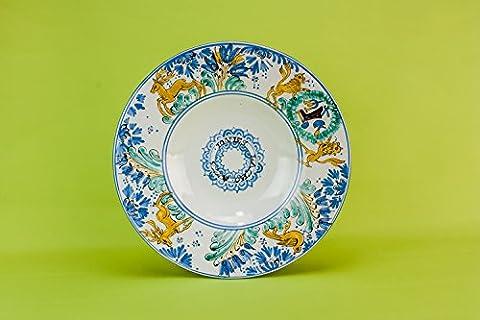 Retro Majolica Tiere Keramik Kleine dekorative BOWL Service Spektakuläre Vintage Pasta Dinner Tabelle Küche Italienisch Ende des 20. Jahrhunderts (Keramik Pasta Bowl)