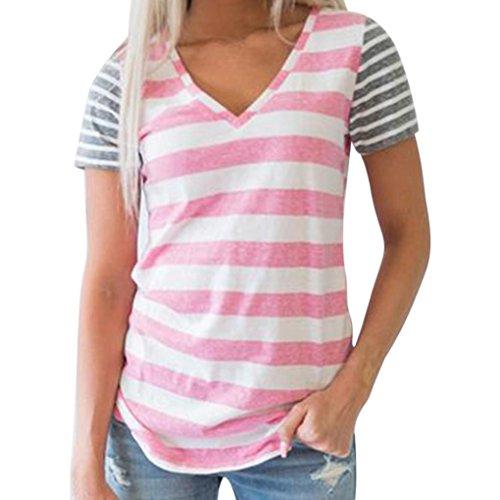 Frauen Mädchen Sommer Täglich Casual Stitching kurzärmelige V-Ausschnitt T-Shirt Top Bluse (EU-40/CN-M, Rosa) (Womens Körper Anzug)