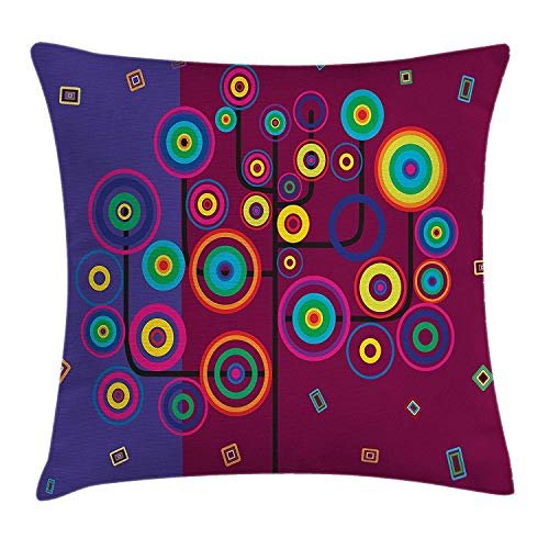 Shower Curtain Trippy Throw Pillow Cushion Cover, Funny Geometric Circle and Square Shaped Tree Branches Vibrant Retro Art Image, Decorative Square Accent Pillow Case, 18 X 18 Inches, Purple Maroon -