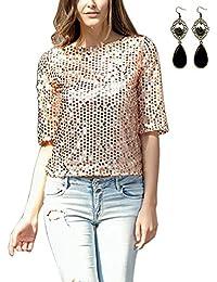 M-Queen Mujeres T shirt Camisetas Manga Corta Labios Lentejuelas Túnica Blusas Camisas Tops