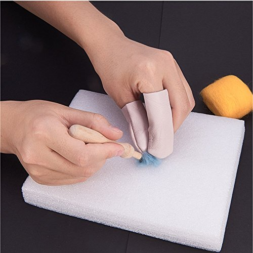 PandaHall Elite Nadel Felting Craft Kit Set Wolle Filzwerkzeuge mit Schaum Matte Holz Filz Griff 9 Nadeln Schere Awl Finger Stall Kleber Stick