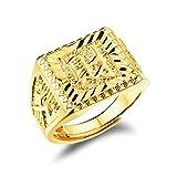 """Suerte Amor joyas anillo de bañados en oro 18K para hombre grabado con caracteres chinos """"Propiedad, Caja de Regalo Empaquetado"""