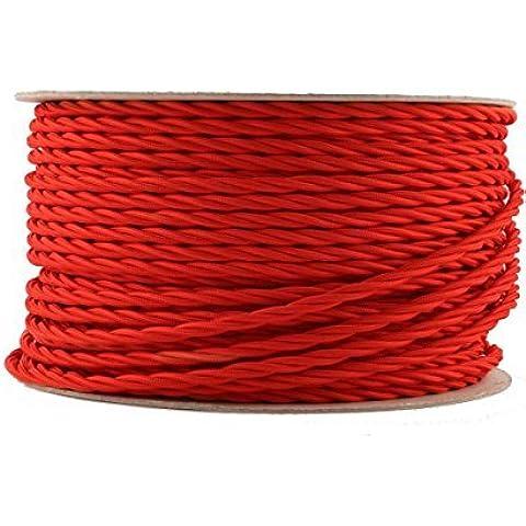 Lighstyl® - DECL-185 Cavo elettrico in tessuto rosso attorcigliato, 5 m, design di tendenza, retrò