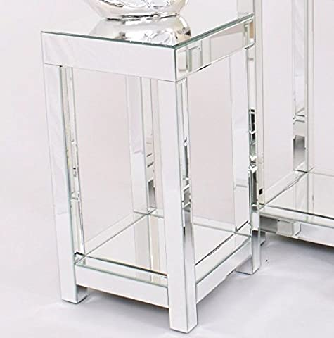 Glass Mirrored Side Table Venetian Vintage Sofa End Furniture Living Room Coffee Plant Lamp Telephone Stand Small Cabinet Modern Contemporary Square Clear Silver Wooden Mirror French Shabby Chic Style Bedside Unit*****FREE FAST