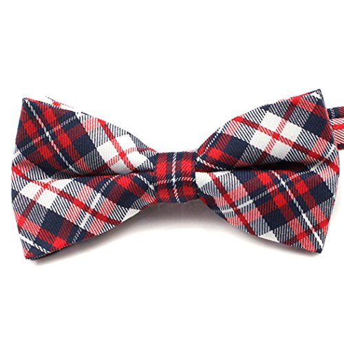 VENIMASEE Kinder Schüler einstellbar Pre-tied Checker Patterns Bow Tie mit Geschenk-Box (Stoff Checker)
