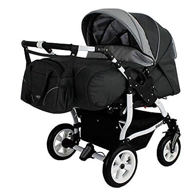 Adbor Duo Spezial Zwillingskinderwagen mit Babyschale, Zwillingswagen, Zwillingsbuggy D-4 grau
