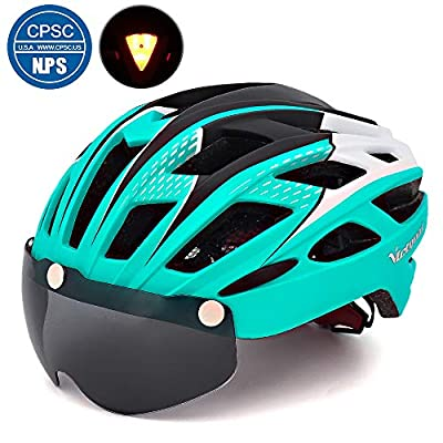 Victgoal Cycle Bike Helmet with Detachable Magnetic Goggles Visor Shield for Women Men, Cycling Mountain & Road Bicycle Helmets Adjustable Adult Safety Protection and Breathable from Victgoal