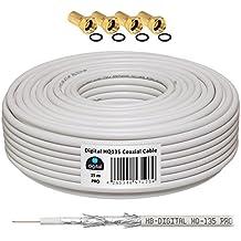130dB 15m Koaxial SAT Kabel HQ-135 PRO 4-fach geschirmt für DVB-S / S2 DVB-C und DVB-T BK Anlagen + 4 vergoldete F-Stecker SET Gratis dazu