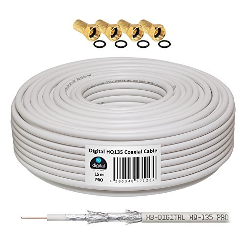 135dB 15m Koaxial SAT Kabel HQ-135 PRO 4-Fach geschirmt für DVB-S / S2 DVB-C und DVB-T BK Anlagen + 4 vergoldete F-Stecker Set Gratis dazu