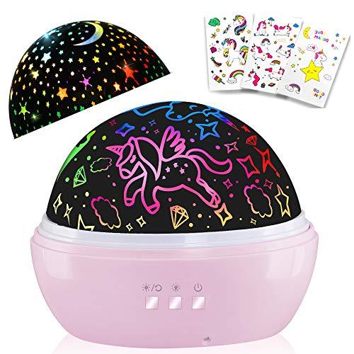 Regalos Niña 1-12 años,Lámpara de proyector de unicornio y estrella, forma de globo, luz nocturna giratoria, regalo de guardería, regalo para niños con 3 tatuajes temporales de unicornio