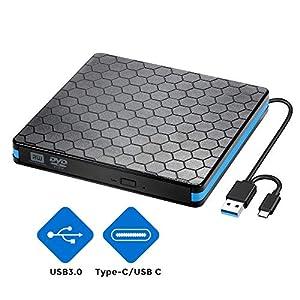 Lecteur de CD DVD Externe avec Interface USB 3.0 et Type-C, graveur et Lecteur de CD-RW/DVD-RW Portable, Compatible avec Win10/8/7/XP, Ordinateur Portable, Mac, Macbook Air/Pro, iMac, PC