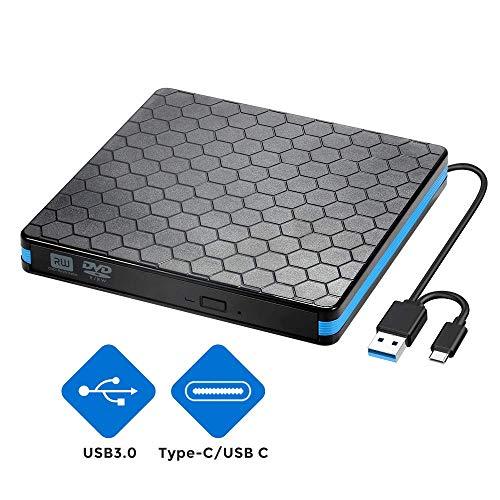 Lecteur de CD DVD Externe avec Interface USB 3.0 et Type-C, graveur et Lecteur de CD-RW/DVD-RW Portable, Compatible avec Win10/8/7/XP, Ordinateur Portable, Mac, Macbook Air/Pro, iMac, PC (Argent)
