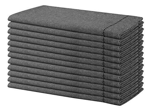Life By Cotton Servietten, Baumwolle, Chambray, Hohlsaum, 50,8 x 50,8 cm, Schwarz, 12 Stück (Servietten Graue Weiße Und)