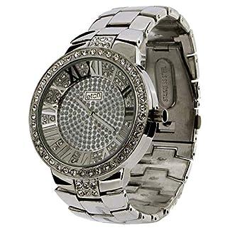 Eton Gents Silvertone Bling Crystal Dial & Chrome Bracelet Strap Watch 3001J