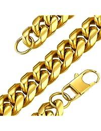 GoldChic Jewelry Cuban Curb Chain Necklace - Collar Pulido Cadena Cubano Miami 6mm 10mm 14mm de Ancho 18-30 Pulgadas de Largo, Color Oro Platino Negro, Cadena Hombre Mujer