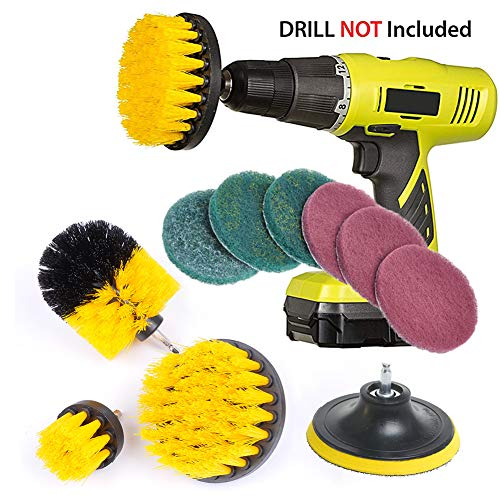 RAIN QUEEN Drill Brush 10Pcs Electric Cleaning Brush Power Scrubbing Brush Drill Fixing bohrmaschine bürsten Fliesen Auto Cleaning Set Power Brush Set (Set 10, Gelb) - Power Scrubber