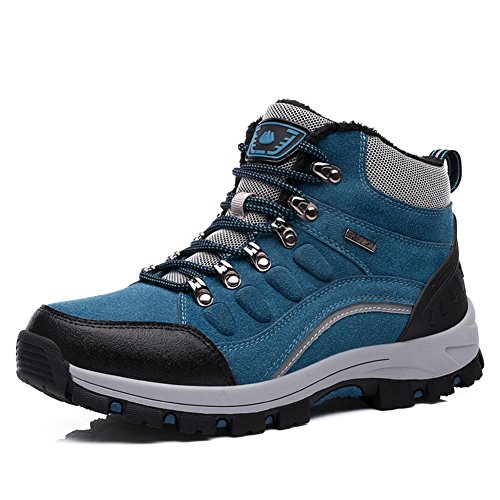 Chaussures Hommes De Randonnée Lacets Plat Confortablee Cross Country Automne Chaussures De Plein Air haut,bleu