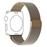 Apple Watch Armband Series 1 Series 2 42mm Gold, PUGO TOP Magnetic Milanaise Armband Edelstahl...