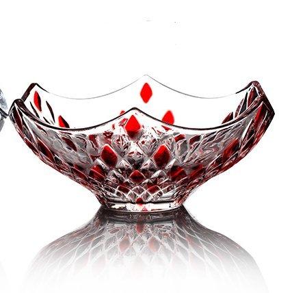 Yifom Large transparent crystal glass fruit bowl living creative fruit bowl,Red