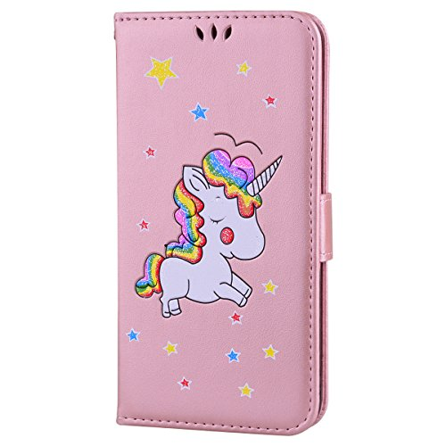 Custodia iPhone 7 Plus 5.5,Custodia iPhone 8 Plus 5.5,ToDo Slim PU Pelle Cover per iPhone 7 Plus / 8 Plus 5.5 Unicorno Bling Glitter Disegno Portafoglio Libro Flip Copertina Protective Case Chiusur Rosa