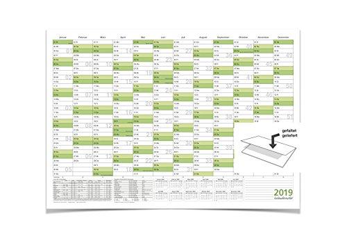 WANDKALENDER/JAHRESPLANER 2019 MIT FERIEN A0 groß, 118,8 X 84,0 CM 135 G grün gefaltet