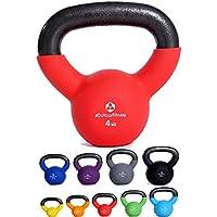 Kettlebell »Kylon« pesa esférica / pesas rusa 2 - 20 kg / Pesa de mano de 100 % hierro con superficie de neopreno / Calidad de gimnasio para un alto rendimiento / 4 kg / rojo