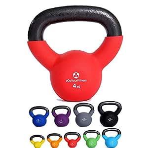 """KettleBell """"Kylon"""" manubrio a sfera da 2 a 20kg / Peso a sfera in ghisa al 100% con rivestimento in neoprene colorato – KettleBell professionale, peso con manico per fitness, workout, sollevamento pesi, allenamento braccia, CrossFit, body shaping, potenziamento muscolare a casa o in palestra. Presa comoda e materiale di alta qualità. Disponibile in diversi colori e classi di peso: 2kg 3kg 4kg 5kg 6kg 8kg 10kg 12kg 15kg 20kg"""
