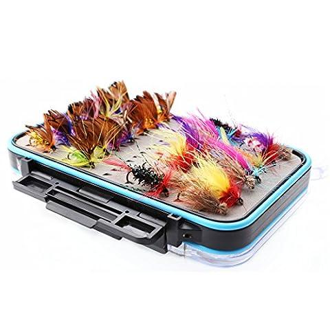 A-szcxtop 64pcs Dry mouches artificielles Appât Bass Salmon Trouts Pêche à la mouche Leurres Assortiment kit avec double face étanche Boîte de rangement pour mouches
