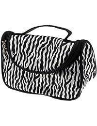 Kinghard Ladies Makeup Cosmetic Case Toiletry Bag Zebra Travel Handbag