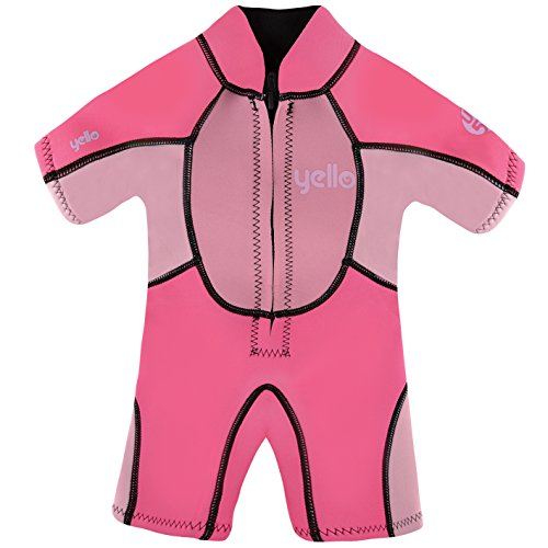 Yello Sandbar Infant Shorty UPF 50 Plus Traje húmedo, niña, Rosa, 3 años