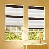 Duo Rollo Doppelrollo Klemmfix für Fenster ohne Bohren Wandmontage mit Klemmträger 40x150cm(BxH) Weiß-Beige-Braun
