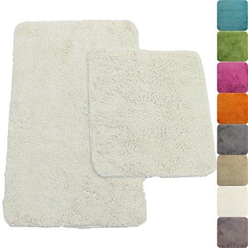 PROHEIM Badematte 2-teiliges Set 50 x 80 und 45 x 50 cm rutschfester Badvorleger Premium Badteppich 1200 g/m² weich & kuschelig Hochflor Duschvorleger, Farbe:Weiß