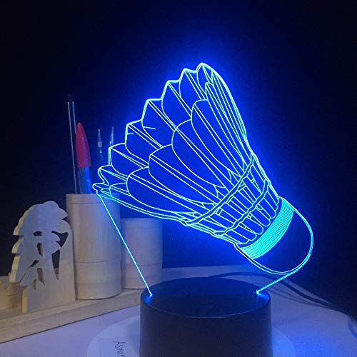 SSYYJJ 3D Illusion Nachtlampe für Kinder Dekoration Geburtstag Geschenk Tischlampen Badminton mit Fernbedienung