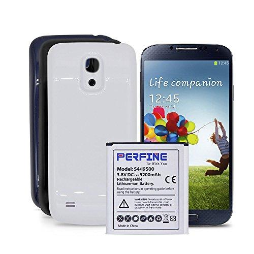 perfine 5200mAh NFC Batería Extendida para Samsung Galaxy S4 con 3 Cubierta Azul-Blanco-Negro, Li-ion Batería de Reemplazo Cabar SM (GT-I9500 GT-I9505 I9506) -Nuevo