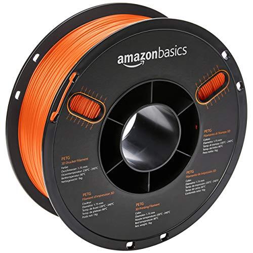 AmazonBasics PETG 3D Printer Filament, 1.75mm, Translucent Orange, 1 kg Spool