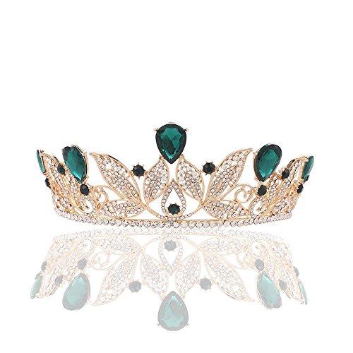 Haixin Barocke goldene Krone Haarschmuck, Braut Kopfschmuck rot Strass Hochzeitskleid Zubehör